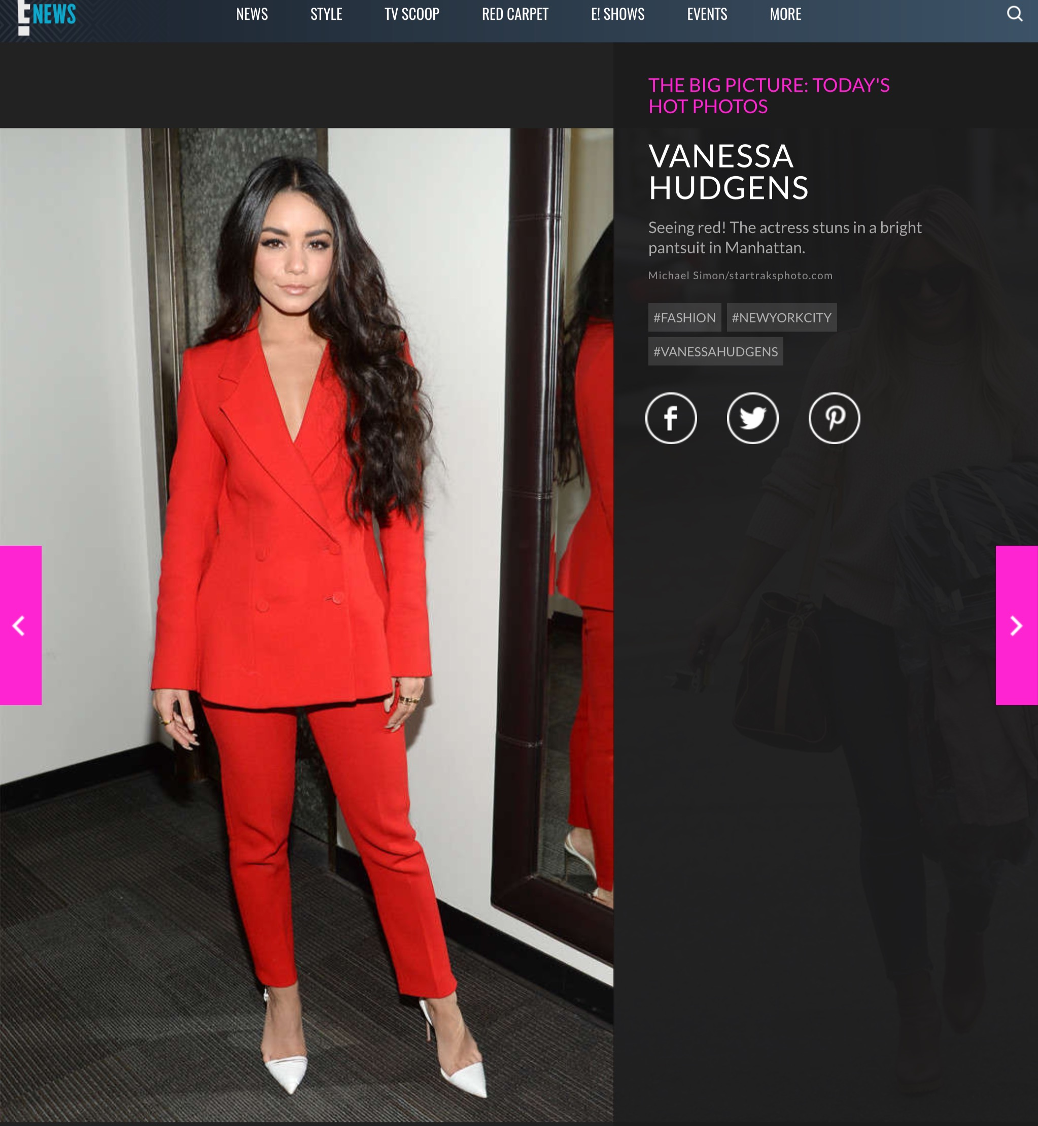 Vanessa Hudgens Wears A Red Romanian Styland Suit Business Review