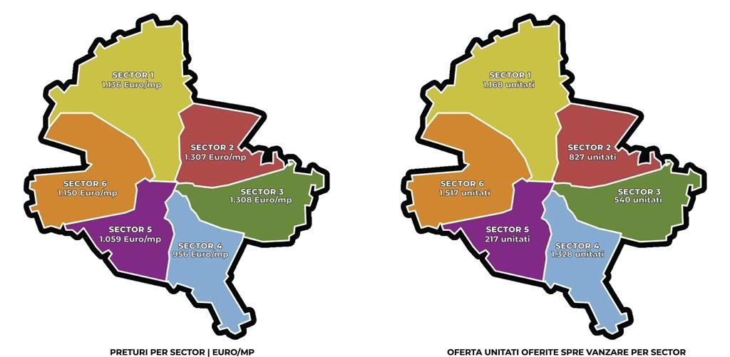 The map of residential prices in Bucharest. District 3, the ...